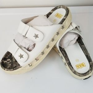 ASH Star Studded Sandals White Leather Upper NEW
